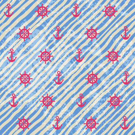 Seamless background pattern. Nautical pattern on grunge strips background.