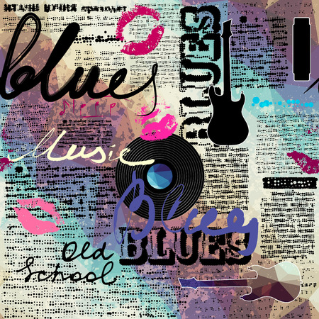 Illustration pour Seamless background pattern. Grunge blue newspaper with original inscriptions Blues and music and guitar silhouette. - image libre de droit