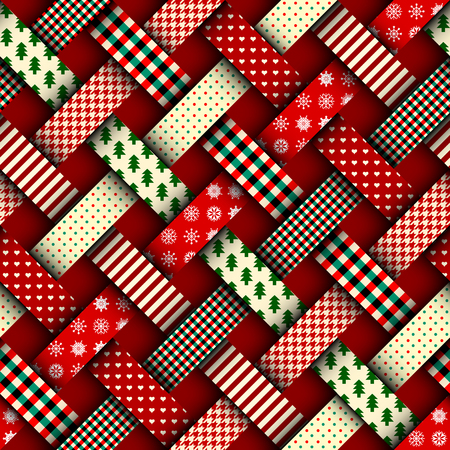 Illustration pour Seamless Christmas background in patchwork style. Interweaving ribbons with Christmas patterns on red background. - image libre de droit