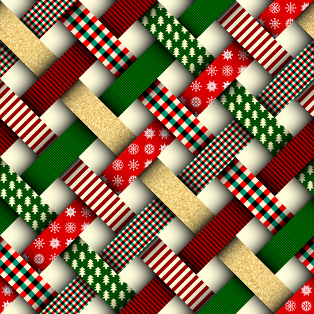 Photo pour Seamless Christmas background in patchwork style. Interweaving ribbons with Christmas patterns on red background. - image libre de droit