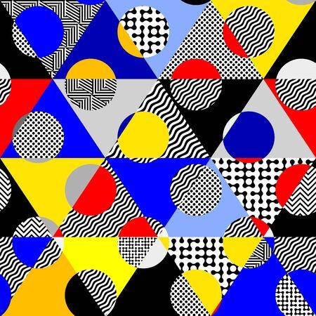 Illustration pour Seamless pattern. Classic polka dot pattern in geometric collage style. - image libre de droit
