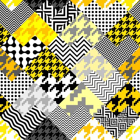 Illustration for Seamless geometric pattern. Classic Hounds-tooth pattern in a collage style. - Royalty Free Image