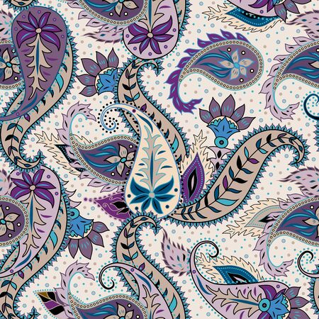 Illustration pour Paisley pattern. Seamless pattern in indian style. Texture of fabric. Vector image. - image libre de droit
