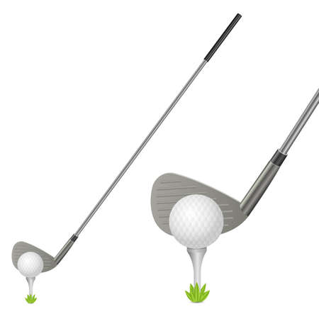 Illustration pour Golf ball and putter vector design illustration isolated on white background - image libre de droit