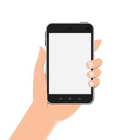 Illustration pour Hand holding phone vector design illustration isolated on white background - image libre de droit