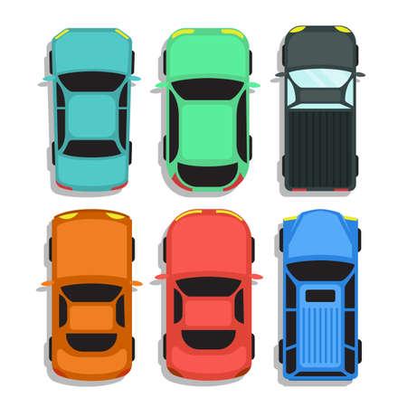 Illustration pour Car top view vector design illustration isolated on white background - image libre de droit