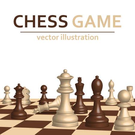 Illustration pour 3d chess game pieces vector design illustration isolated on white background - image libre de droit