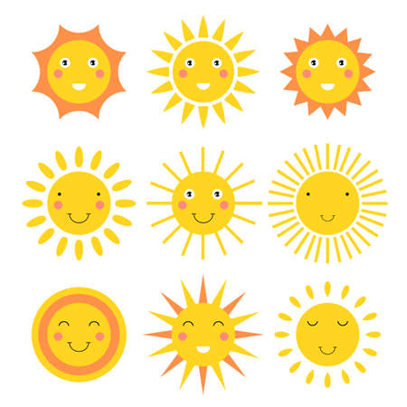 Illustration for Smiling sun cartoon vector design illustration isolated on white background - Royalty Free Image