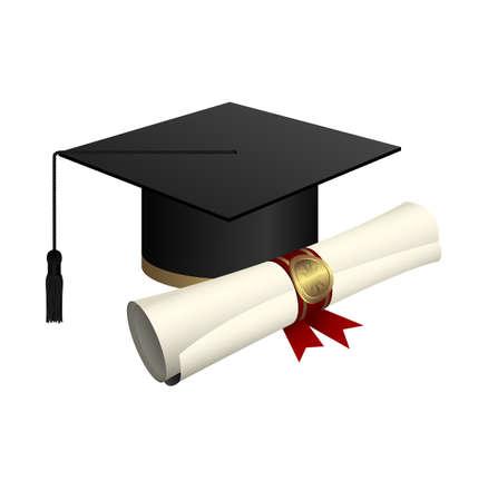 Illustration pour Graduation cap and diploma vector design illustration isolated on white background - image libre de droit