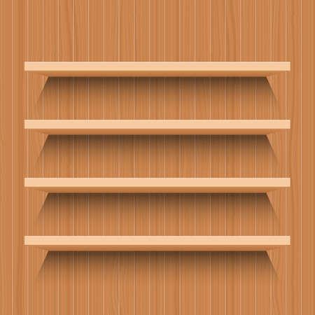 Illustration pour Wooden shelf vector design illustration isolated wooden background - image libre de droit