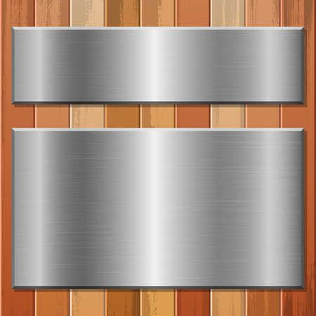 Illustration pour Metallic plate on wooden background vector design illustration - image libre de droit