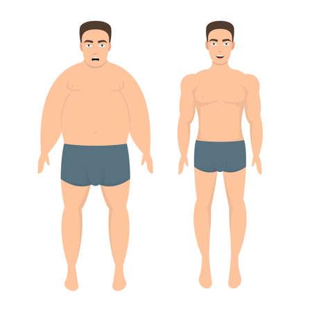 Ilustración de Weight loss man vector design illustration isolated on white background - Imagen libre de derechos