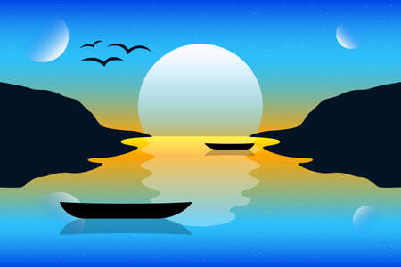 Illustration pour Sunset landscape background vector design illustration. Nature landscape - image libre de droit