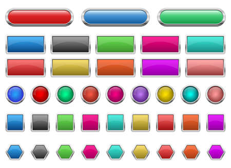 Illustration pour Glossy buttons set vector design illustration isolated on white background - image libre de droit