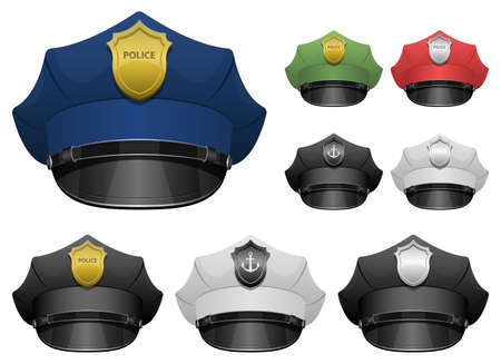 Illustration for Police officer hat vector design illustration isolated on white background - Royalty Free Image