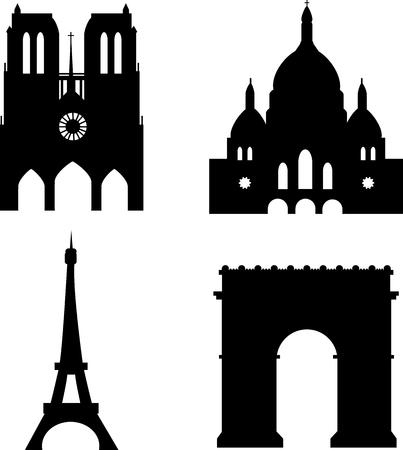 paris sights eiffel tower sacre-couer arc de triomph notre-dame de paris