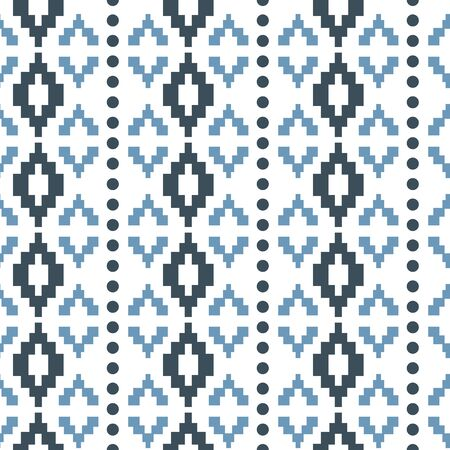 Illustration for Vector pastel blue tribal geometric with dots seamless pattern background - Royalty Free Image