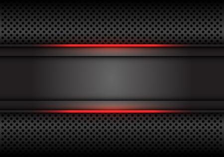 Illustration pour Abstract red light line dark grey banner on circle mesh design modern luxury futuristic background vector illustration. - image libre de droit