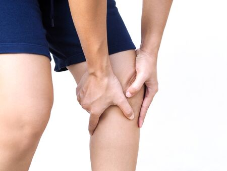 Photo pour Asian people have knee pain, leg pain use hands touching on leg massage to relax muscle and relieve ache. - image libre de droit