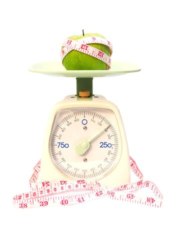 Photo for Green apples and tape measure on weight scale isolated on white background - Royalty Free Image