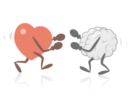 Illustration pour Heart and Brain Fighting - image libre de droit