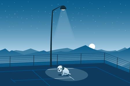 Illustration pour Abandoned Puppy Alone in a Parking Lot Scene - image libre de droit