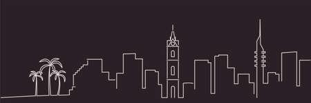 Illustration for Tel Aviv Single Line Simple Minimalist Skyline - Royalty Free Image