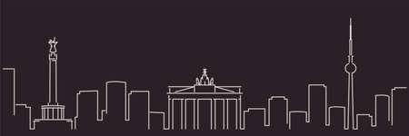 Illustration pour Berlin Single Line Simple Minimalist Skyline - image libre de droit