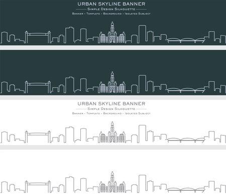 Illustration pour Fort Worth Single Line Skyline Profile Banner - image libre de droit