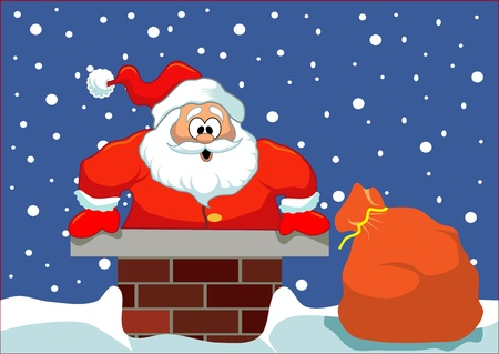 Santa stuck in the chimney  Simple Christmas illustration  Layered, easy to edit