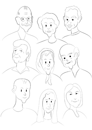 Nine faces from different nationalities