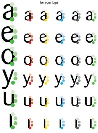 Foto per Logo vocali AEOYUI con pallini laterali - Immagine Royalty Free