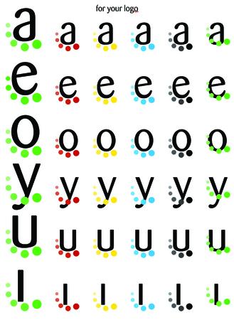 Foto per Logo vocali AEOYUI con pallini - Immagine Royalty Free