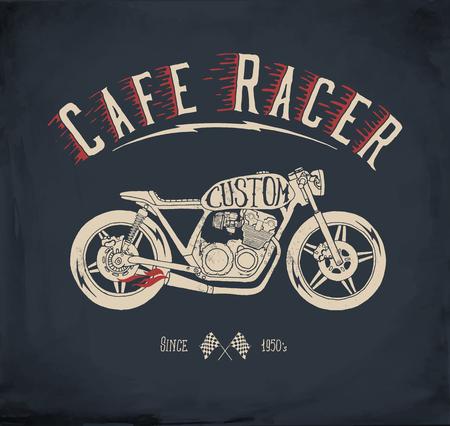 Illustration pour Cafe Racer Motorcycle. Vintage hand drawn styled vector illustration. T-shirt design. - image libre de droit