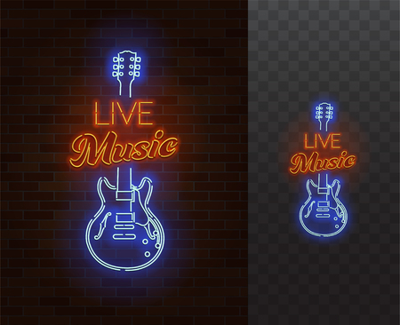 Illustration pour Live Music Neon Sign. Guitar with caption. Realistic vector illustration. Party poster. Transparent background. - image libre de droit