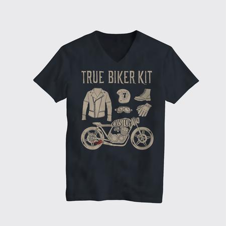 Illustration pour Motorcycle Biker Cafe Racer themed t-shirt design mockup. Vintage styled vector illustration. - image libre de droit
