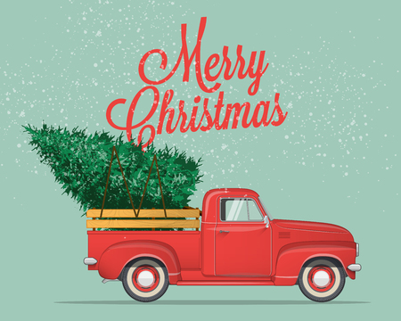 Illustration for Merry Christmas and Happy New Year Postcard or Poster or Flyer template with retro pickup truck with christmas tree. Vintage styled vector illustration. - Royalty Free Image