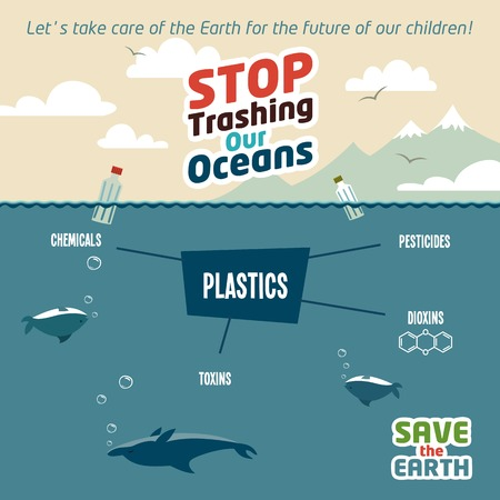 Stop trashing our oceans. Pollution of the ocean plastic debris. Save the Earth eco illustration