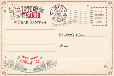 Vintage Christmas letter to Santa Claus wish list postcard