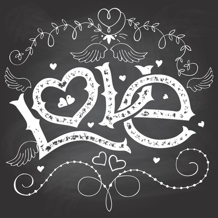 Love hand-lettering for Valentines day with hand-drawn elements on blackboard background with chalk