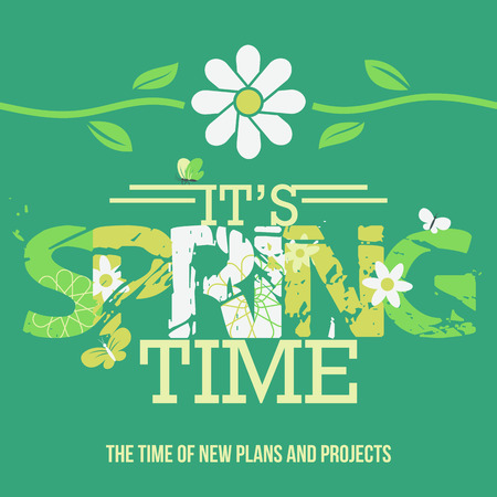 Spring Time. Typographic design poster with a grunge font