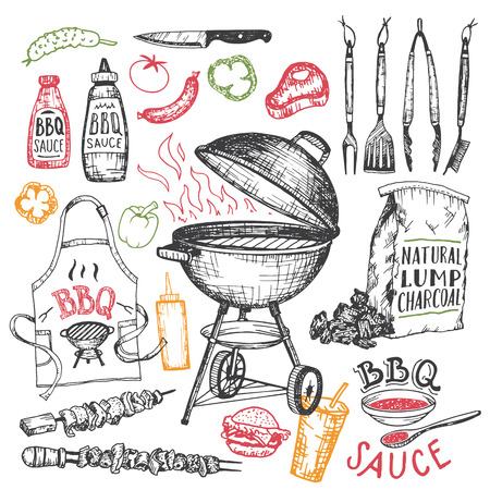 Illustration pour Barbecue hand drawn elements set in sketch style isolated on white background. Tools and foods for bbq party - image libre de droit