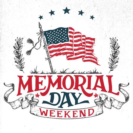 Ilustración de Memorial Day weekend greeting card. Hand-lettering party invitation. Sketch of american patriotic flag and ribbon. Vintage typography illustration isolated on white background - Imagen libre de derechos