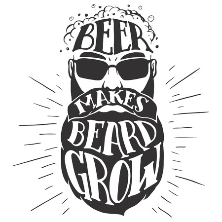 Illustration pour Beer makes beard grow. Oktoberfest illustration of a bearded man isolated on white background. Bearded beer lover. T-shirt print or pub poster - image libre de droit