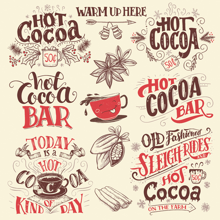 Hot cocoa hand lettering signboards set. Hot cocoa bar. Cocoa cup cartoon character. Hand drawn signs for cafe, bar and restaurant