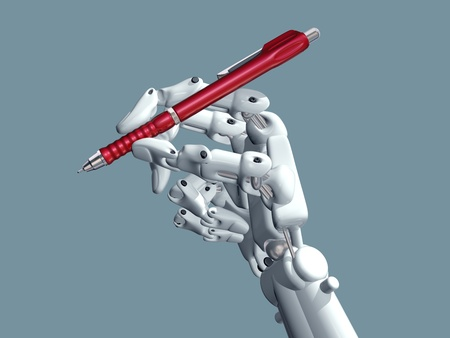Illustration of a robot holding a pen