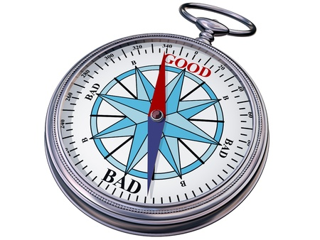 Illustration of a moral compass helping you to make the right decision