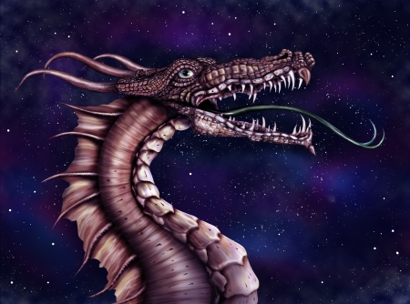 Illustration of a fierce dragon with a star filled night sky