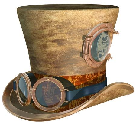 Foto de Isolated illustration of a steampunk top hat and brass goggles - Imagen libre de derechos