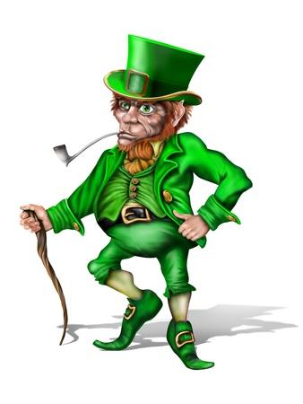Illustration of an Irish leprechaun holding a shillelagh